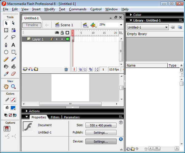Flash 8 Interface Screenshot