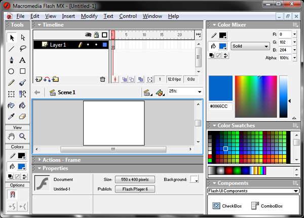 Macromedia Flash MX Interface Screenshot