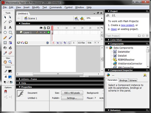 Flash MX 2004 Interface Screenshot
