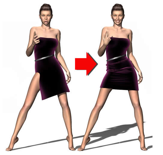 Using Partial Dynamics for Clothing