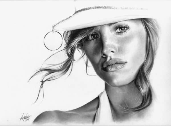50 ultra realistic female portrait drawings photoshop