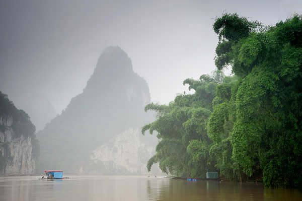 Rain at river Li, China