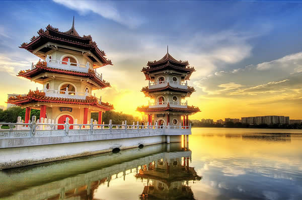 Twin Pagodas in Chinese Garden, Singapore