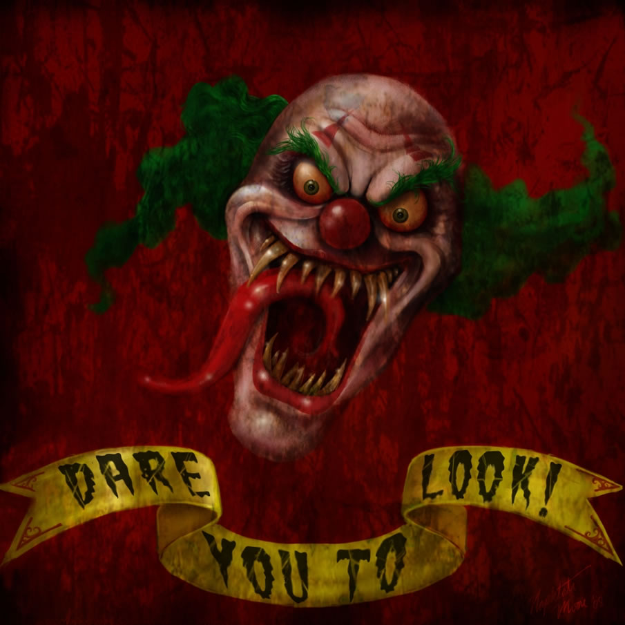 digital drawing 50 scary clowns that will haunt in your dreams
