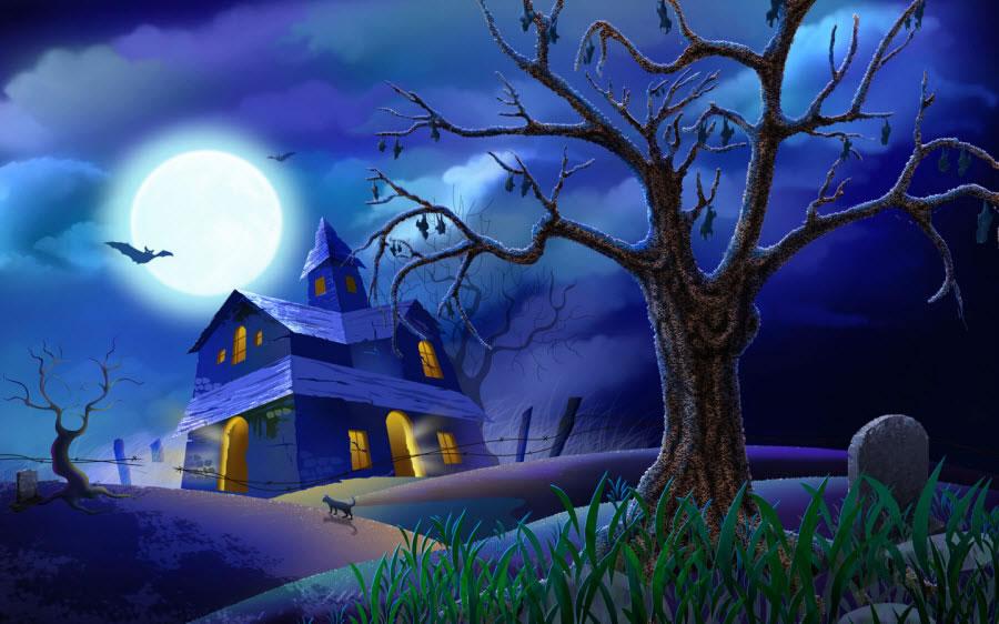 Halloween Blue Wallpaper