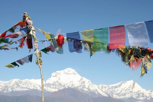 Tibetan flags in Himalaya