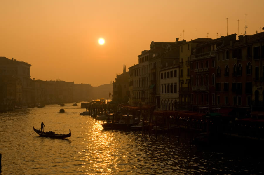 Sunset View of the Grand Canal from the Rialto Bridge, Venice