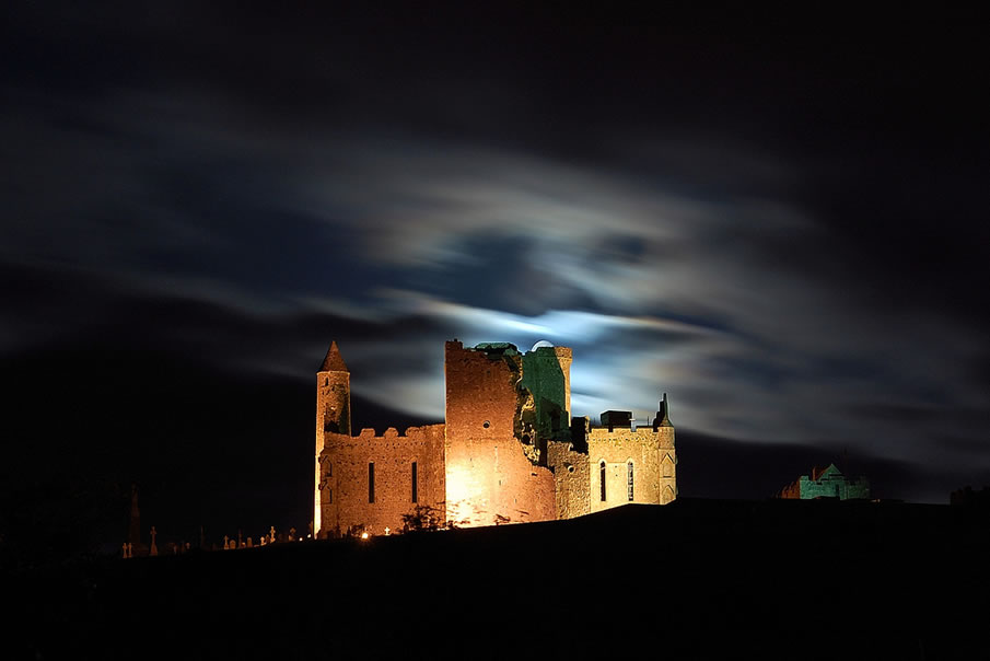 Rock of Cashel with the Moon Peeking Out