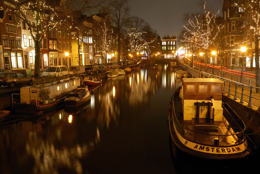 Amsterdam Canals at Night - Spiegelgracht