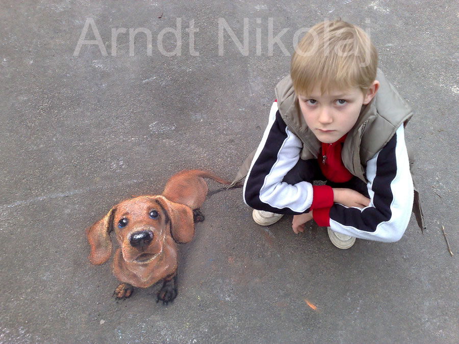 Son with a Picture of a Dog