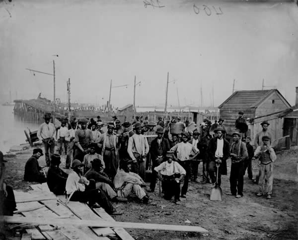 Black Laborers on a Wharf, James River, Va
