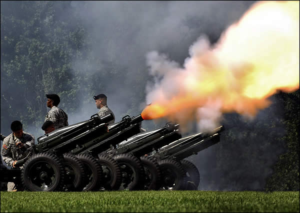 Members of the US Army Shoot Off Cannons