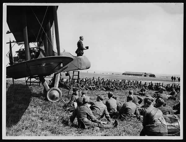 Army Chaplain Conducts a Service from the Cockpit of an Aeroplane, France, During World War I