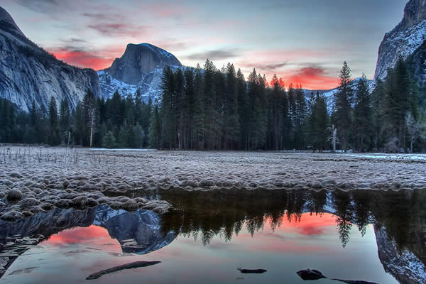 Half Dome Reflection before Sunrise