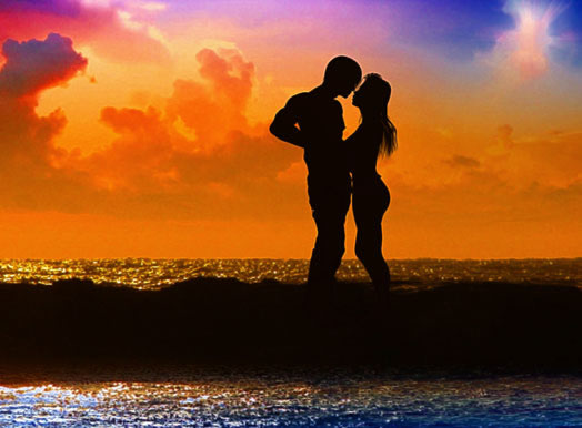 Romantic Love, Lovers about to Kiss on the Beach at Sunset