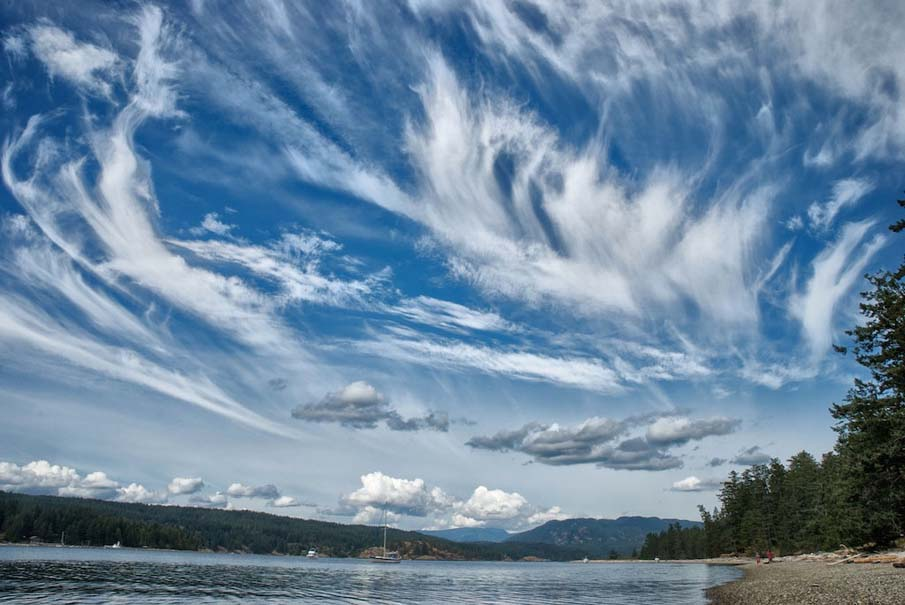 Cloud formations above Rebecca Spit, Quadra Island