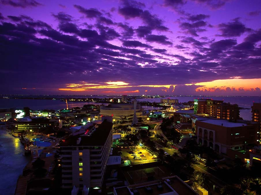 Cancun, Mexico at Twilight