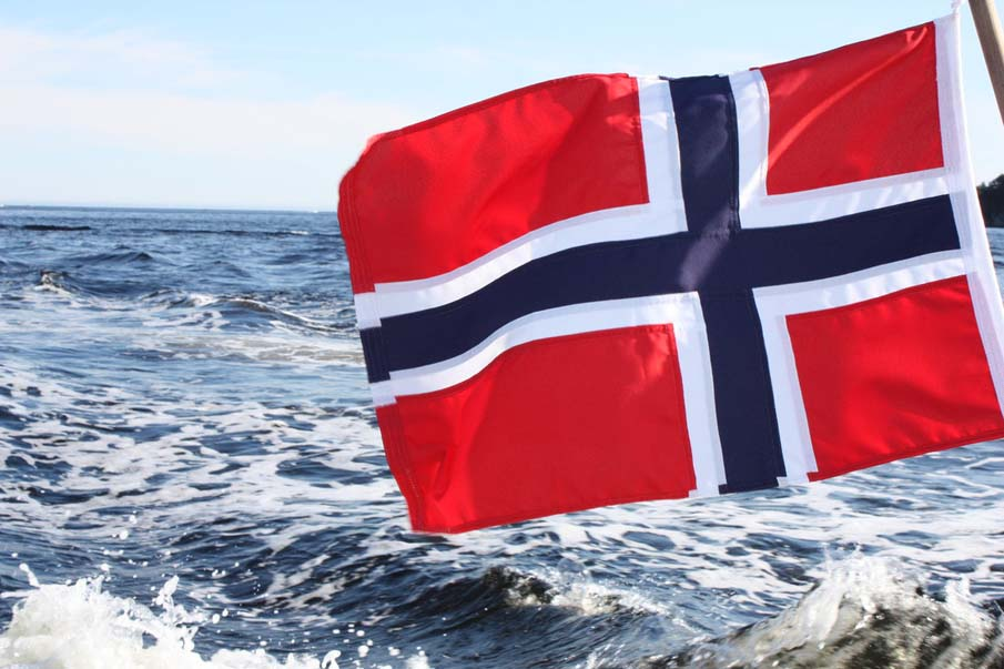 Norwegian Flag at Sea