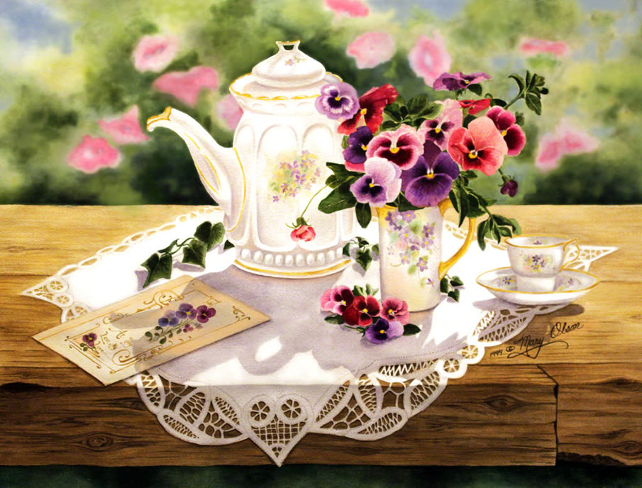 Victorian Teapot and Pansies