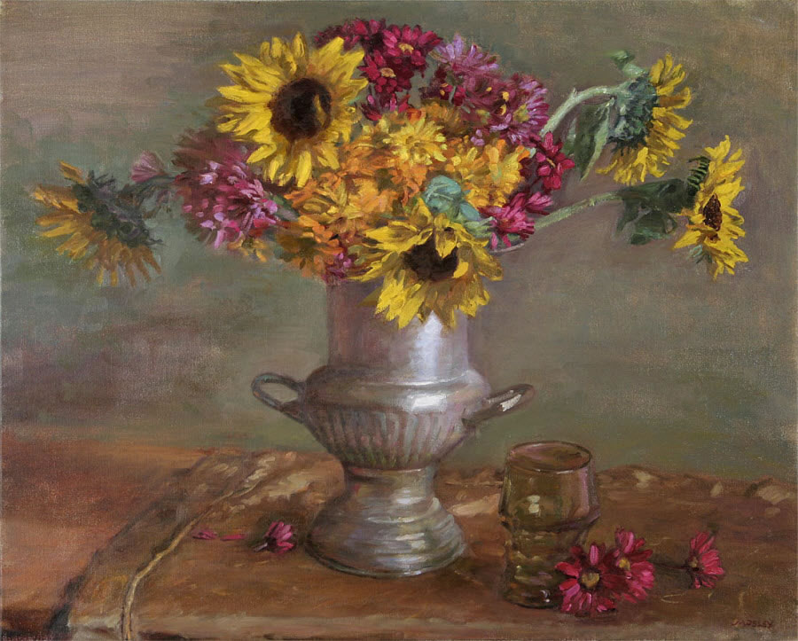 Sunflowers in Silver Urn