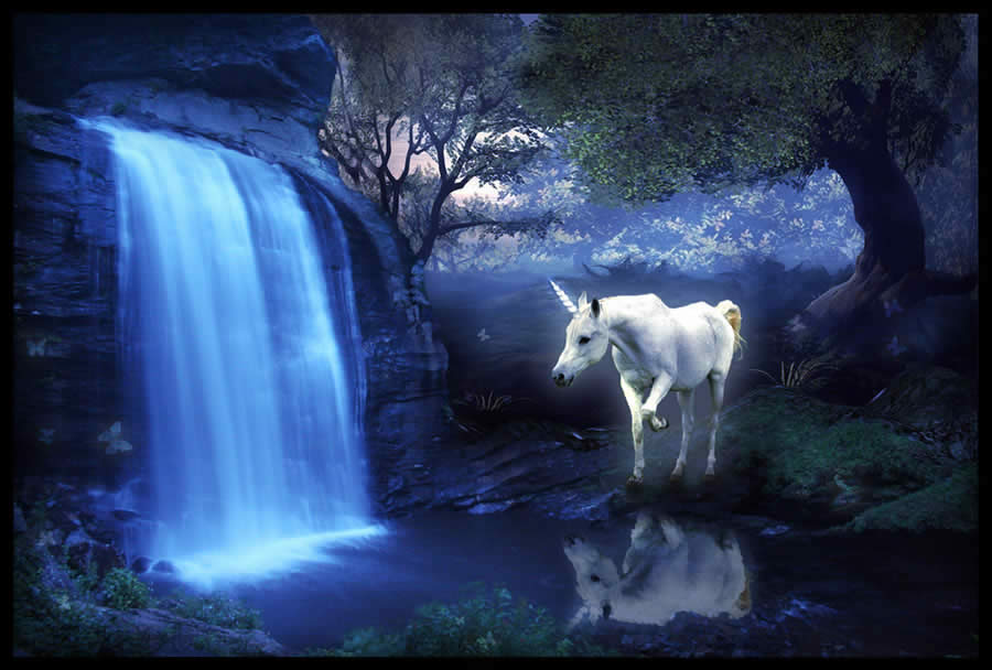 50 Poetic Depictions of UnicornsUnicorns And Waterfalls