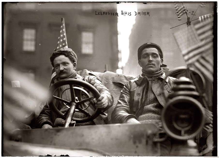 Lelouvier and driver in the Werner car, February 1908, at the start of the New York to Paris automobile race. The course was from Times Square to the Eiffel Tower via Alaska and Siberia.