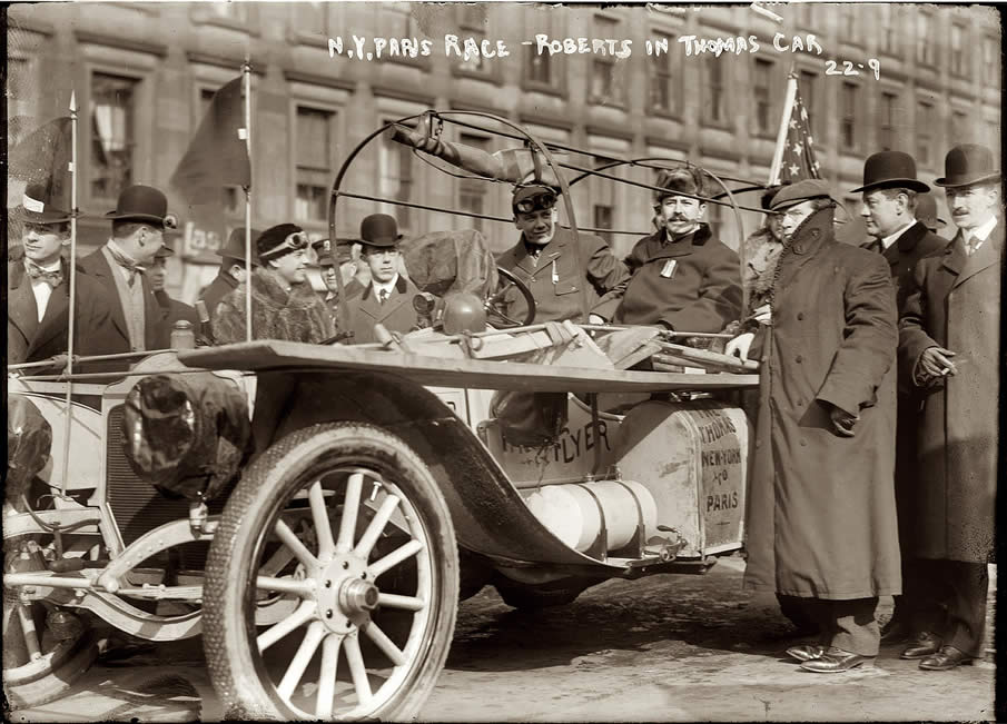February 12, 1908. Montague Roberts in Times Square driving the Thomas Flyer at the start of the New York to Paris automobile race.