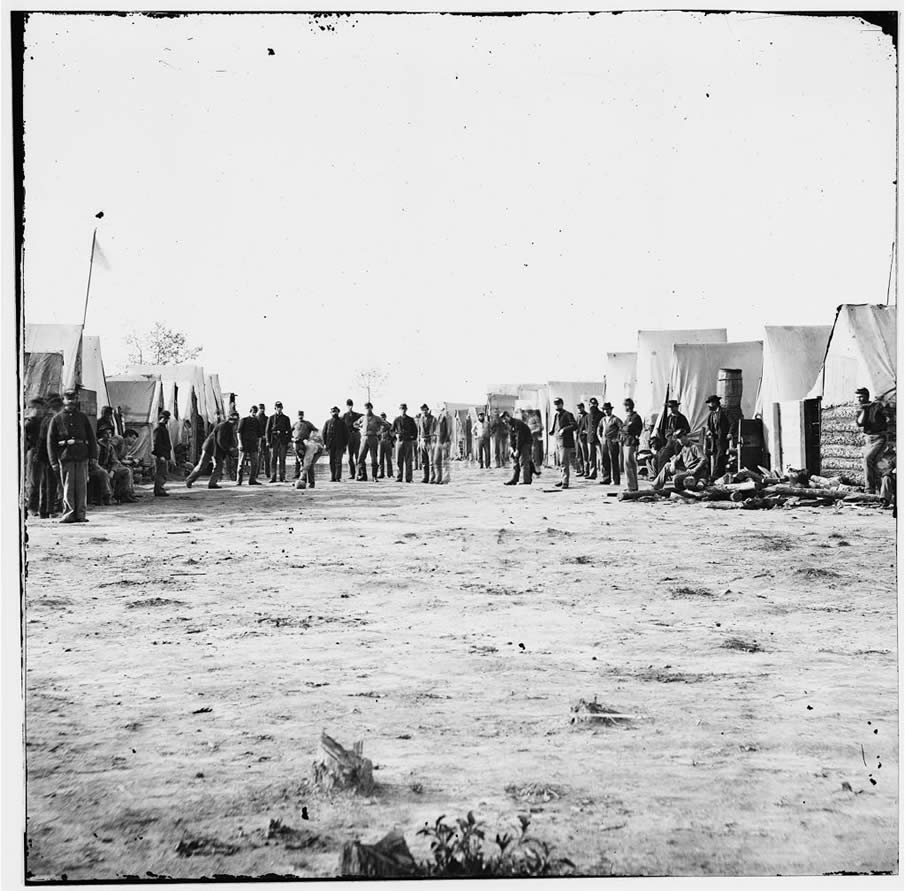 Petersburg, Virginia (vicinity). Playing ball. Camp of 13th New Heavy Artillery. 1861-1869.