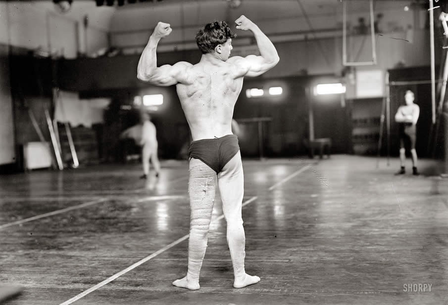 "New York City circa 1908. ""Sam Kramer."" Bodybuilder and wrestler."