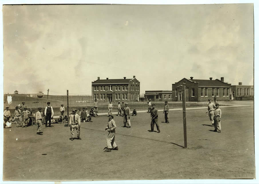 Recreation (volley-ball). Pauls Valley Training School. April 1917.