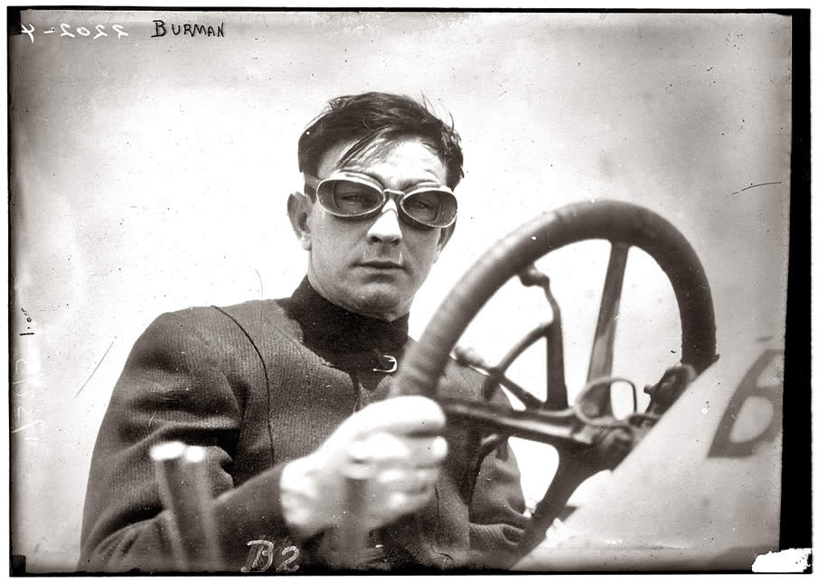 "May 25, 1911. Bob Burman and his ""Blitzen Benz,"" a month after setting a world speed record in the car."