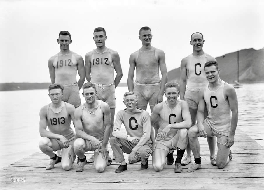 "June 18, 1911. Poughkeepsie, New York. ""Cornell Varsity rowers."""