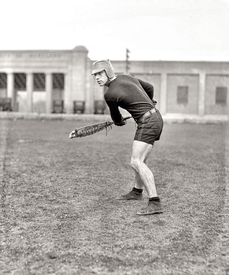 "1924. ""Lewis, Maryland Agricultural College."" Gomer Lewis, University of Maryland lacrosse star."