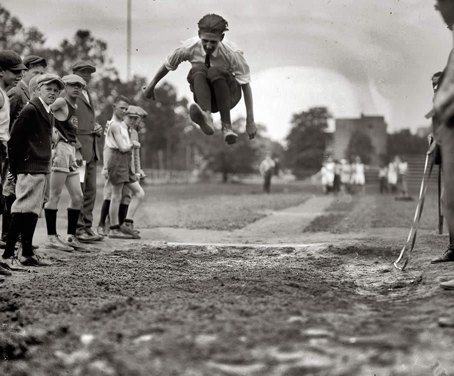 "Washington, D.C., 1924. ""Grade school track meet."""