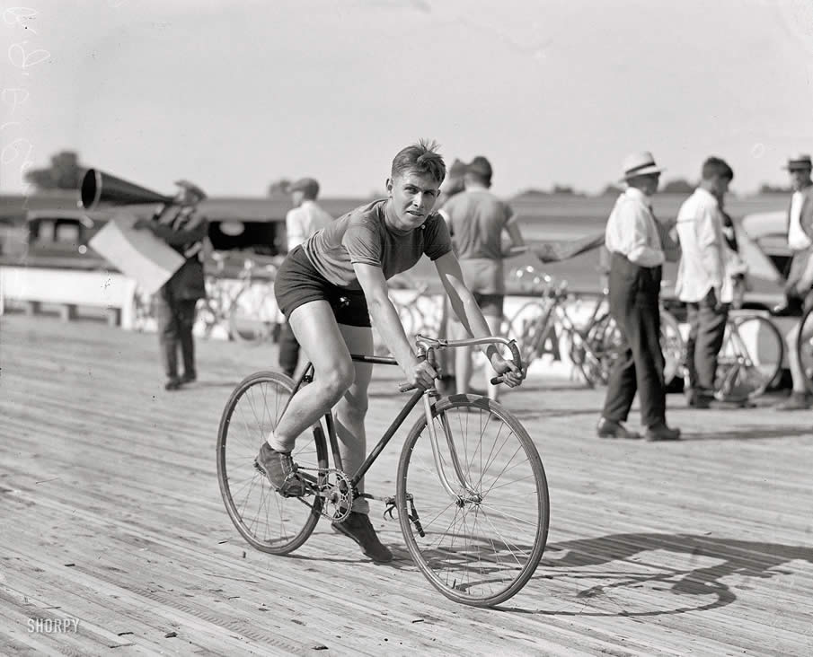 "July 18, 1925. Laurel, Maryland. ""R.J. OConnor, inter-city championship bicycle races, Laurel Speedway."""
