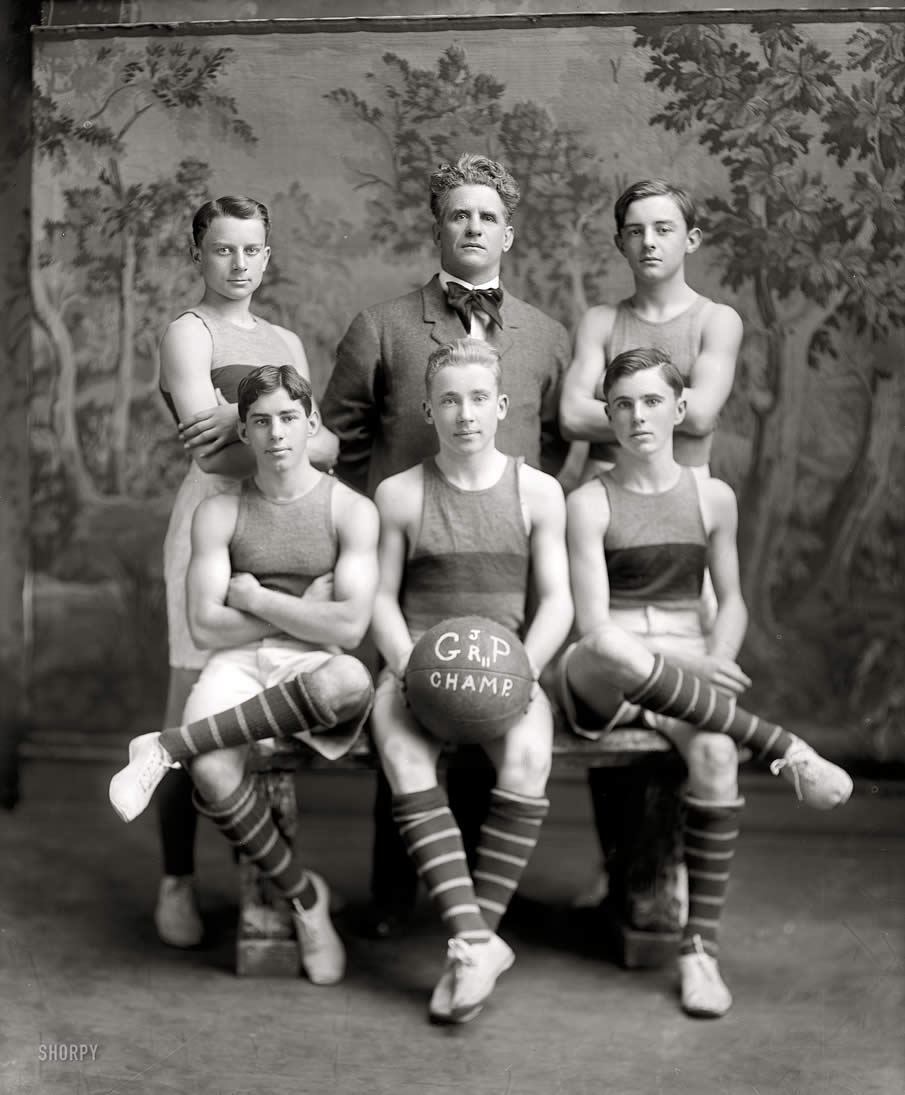 "Washington, D.C., circa 1911. ""Georgetown basketball."" Georgetown Preparatory School junior varsity."