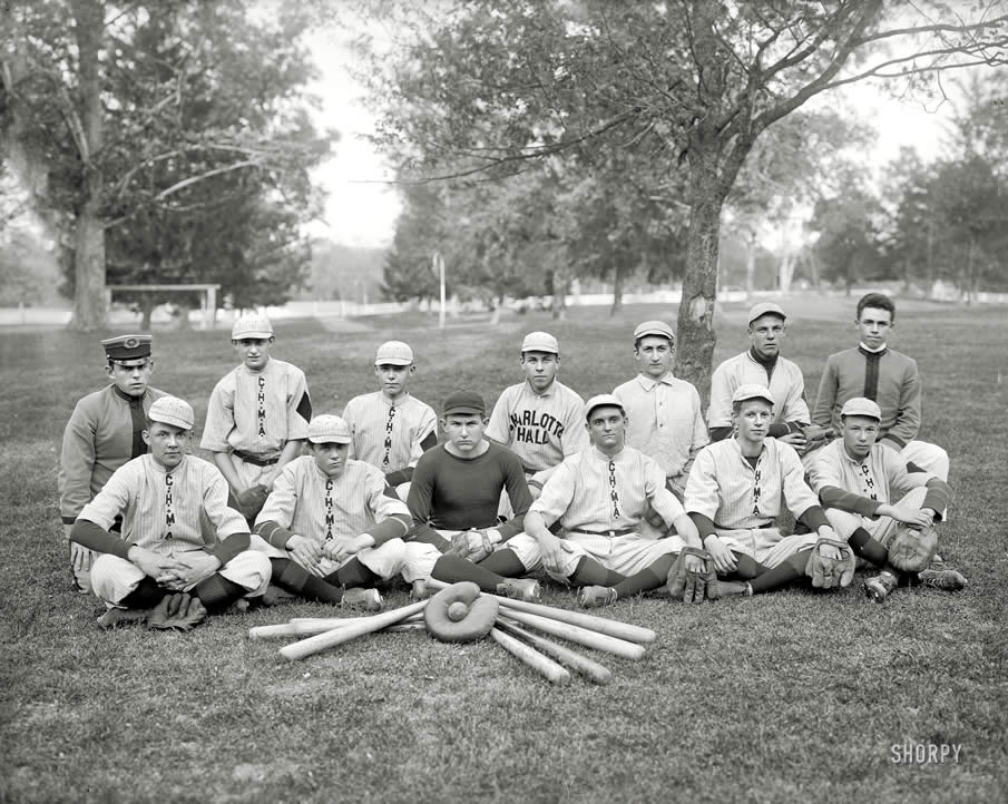 "St. Marys County, Maryland, circa 1920. ""Charlotte Hall Military Academy baseball."""