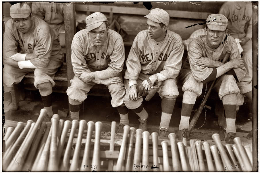 Babe Ruth, Bill Carrigan, Jack Barry and Vean Gregg of the Boston Red Sox in 1916.