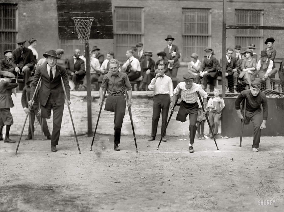 "New York City circa 1918. ""Start of cripples one-legged race"