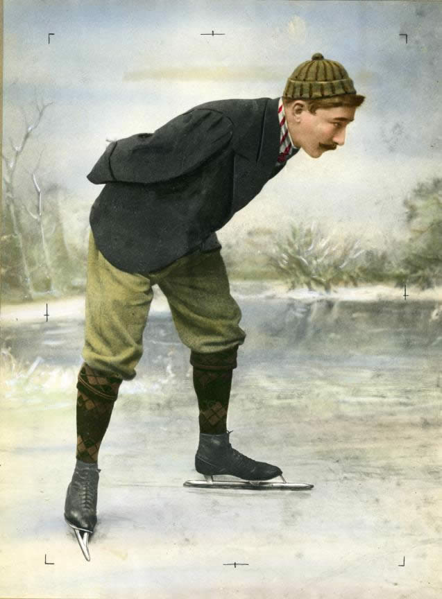 Dutch skater Jaap Eden on the ice. Location here, 1890-1900.