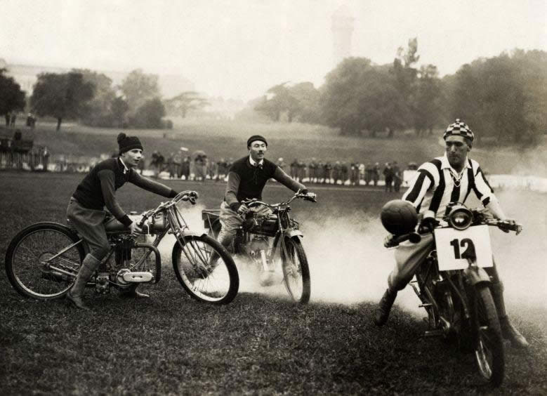 Soccer on motorbikes on the footbal pitch of Crystal Palace in London, England 1923.