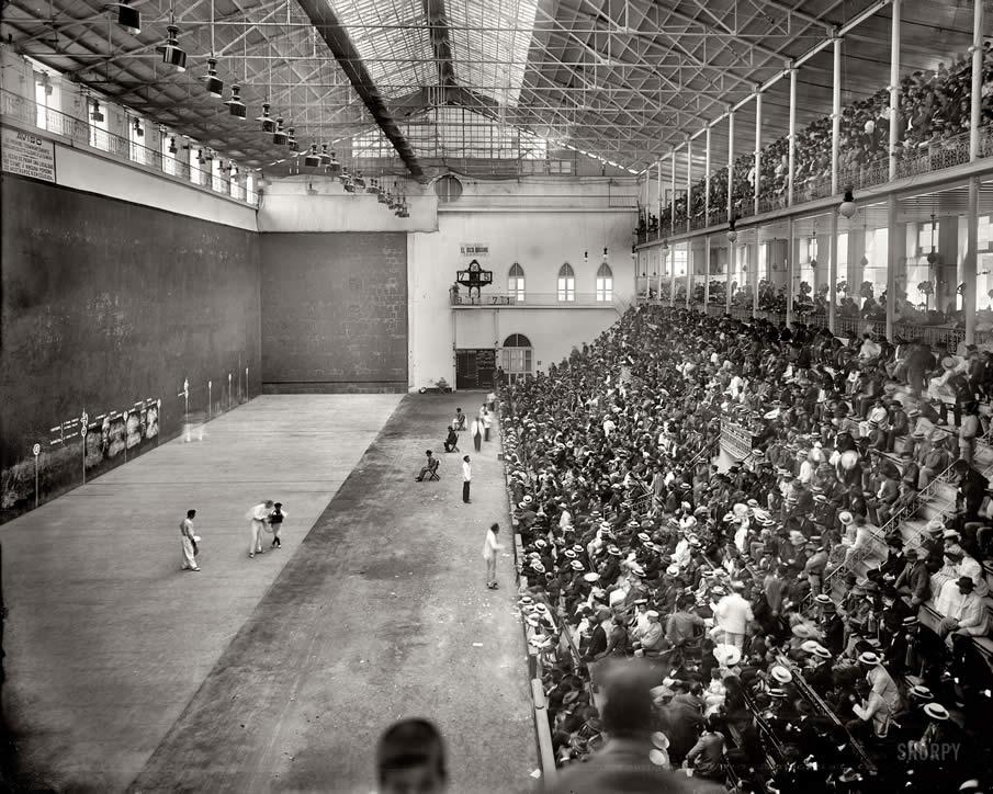 "Havana, Cuba, circa 1904. ""Jai alai hall."" Parimutuel pelotas in a smoke-filled fronton."
