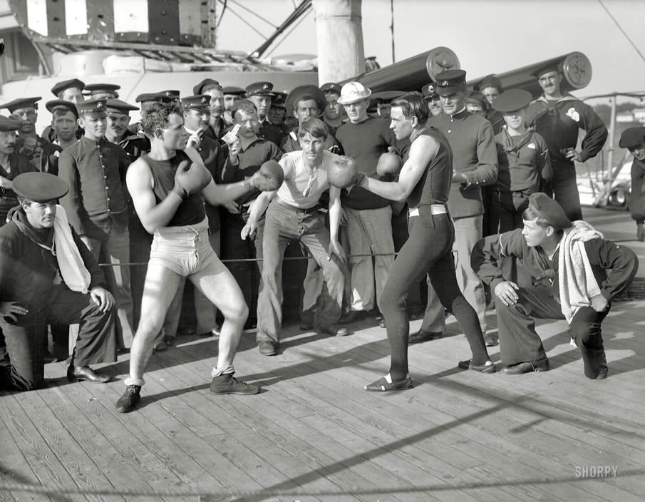 "July 3, 1899, aboard the U.S.S. New York. ""A 10-round bout, anniversary of Santiago."""