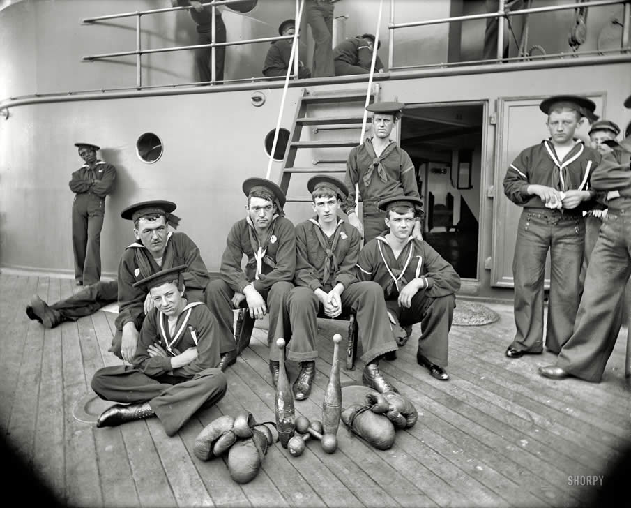 "Circa 1897. ""U.S.S. Oregon -- the athletes."""