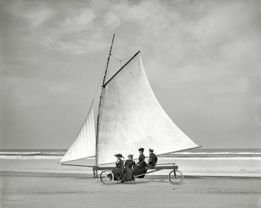 "Two sheets to the wind circa 1900. ""Sailing on the beach. Ormond, Florida."