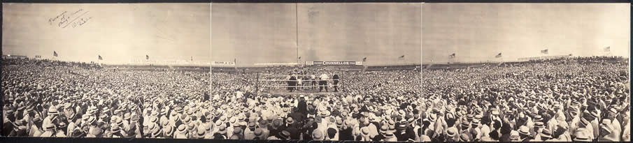 Panorama of ring & crowds. 1919.