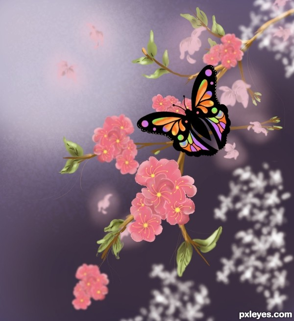 How to make a Beautiful Spring Butterfly Scenery practice