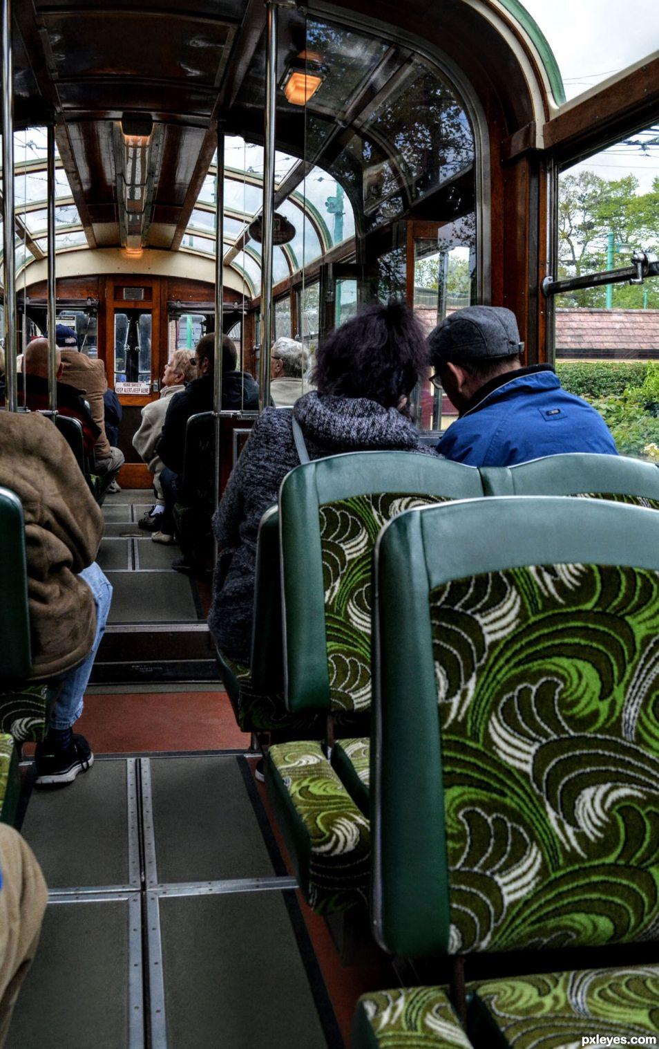 Inside a tram