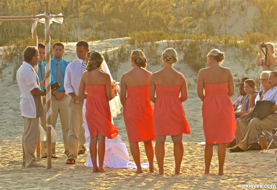 Small evening wedding on a sandy beach