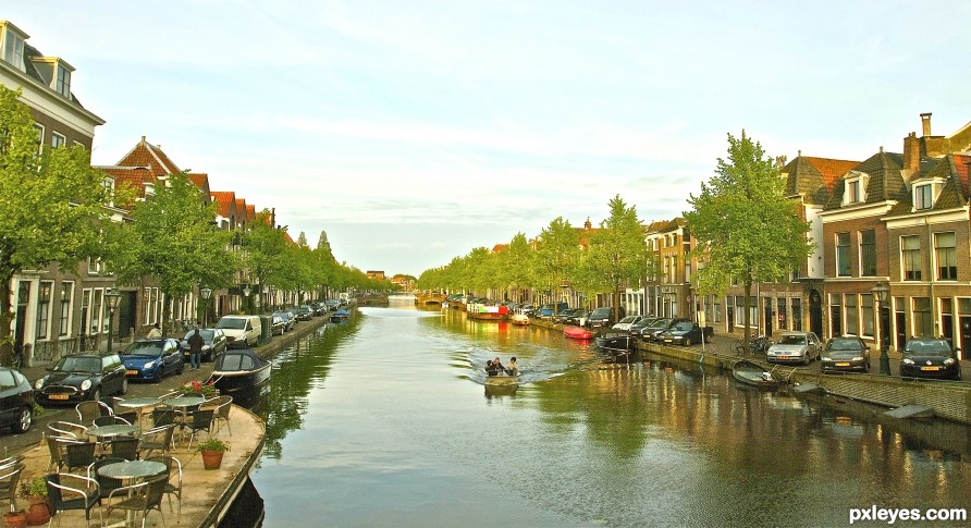 Evening boat ride on a canal in Leiden Holland
